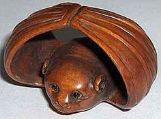 ☆ Hand Carved Ironwood Netsuke Bat ☆