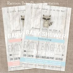 Raccoon Baby Shower Invitation Pink or Blue Baby by WeeBabyShower
