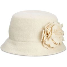 Nine West Knit Microbrim Hat (56 CAD) ❤ liked on Polyvore featuring accessories, hats, winter white, flower hat, fisherman hat, knit bucket hat, knit hat and nine west hats