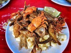 Plate of fresh seafood in Tarija, Bolivia