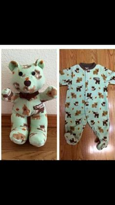 Teddy bear made out of newborn pjs!