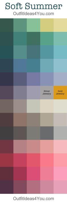 Soft Summer Color Palette Your Color Style - Color Analysis: Summer Color Palettes, Soft Summer Color Palette, Colour Pallete, Summer Colors, Seasonal Color Analysis, Color Me Beautiful, Soft Autumn, Season Colors, Color Theory