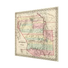Vintage Map of New Mexico and Utah (1857) Canvas Print