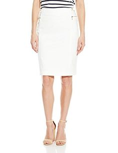 d477cec8787 Calvin Klein Womens Skirt W Snaps and Zips Soft White 4 -- To view further
