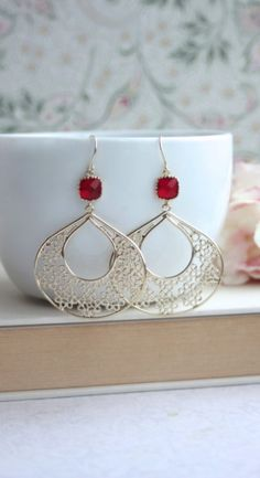 Ruby Red Chandelier, Gold Filigree Hoops Loop Earrings. Bridesmaids Gifts. Boho Summer Earrings By Marolsha -  https://www.etsy.com/listing/195443711/gypsy-art-deco-filigree-ruby-red-red?ref=shop_home_active_10&ga_search_query=red%2Bearrings