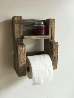 DIY - Pallet Furniture Toilet Paper Holder Reclaimed Wood Bathroom Furniture Wall Shelf Rustic Home Decor by BandVRusticDesigns on Etsy Reclaimed Wood Furniture, Diy Pallet Furniture, Rustic Furniture, Bathroom Furniture, Furniture Ideas, Pallet Bathroom, Bathroom Ideas, Industrial Furniture, Pallet Home Decor