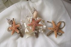 Sea shell corsage, boutonniere, beach wedding corsage, nautical coastal corsage, coastal wedding corsage, starfish corsage on Etsy, $16.04 CAD