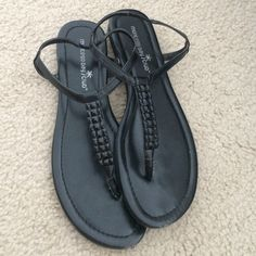 Black sandals size 7.5 Black sandals size 7.5. Black jewel-type beads on the front. Perfect for summer. A little scrapped at the top but barely noticeable when you wear them! Shoes Sandals