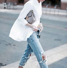 oversized white button-down + ripped bf jeans + Chloe 'Drew' bag