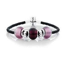 Purple Glass & Black Leather Charm Bracelet Leather Charm Bracelets, Purple Glass, Charms, Black Leather, Jewelry, Jewels, Schmuck, Jewerly