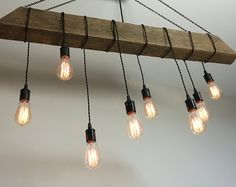 Reclaimed Barn Beam Light Fixture/bar/restaurant /home. Edison bulb. Rustic modern industrial