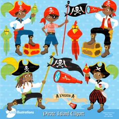 80% OFF SALE Pirate clipart African American Pirate clip art Pirates illustration pirate vector digital images AMB-174
