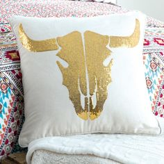 Golden Longhorn Sequin Pillow- Add a touch of glam to your bedding with our golden sequined longhorn pillow.
