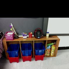 Turn a bookshelf on it's side for extra storage!! I got this idea from pinterest and I love it!! On top o have my music, super awesome radio/cd player/ iPod dock, brain break sticks, sticks for drawing names, and brain sprinkles!