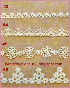 Four beautiful scheme for knitting rims - the collection needle women. Schemes of knitting crochet fringe Crochet Boarders, Crochet Lace Edging, Crochet Diy, Crochet Stitches Patterns, Crochet Fringe, Crochet Baby Blanket Tutorial, Crochet For Beginners Blanket, Braidless Crochet, Double Crochet Decrease