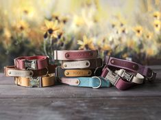 Cool Dog Collars, Leather Dog Collars, Dog Accesories, Pet Accessories, Dog Collar With Name, Custom Dog Tags, Personalized Dog Collars, Cowhide Leather, Metal Buckles
