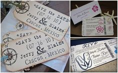 save the dates - love the ones that are laid out on what looks like a boarding pass