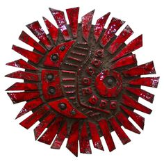 Vibrant Red Glazed Ceramic Wall Sculpture by Charles Sucsan | From a unique collection of antique and modern wall-mounted sculptures at https://www.1stdibs.com/furniture/wall-decorations/wall-mounted-sculptures/