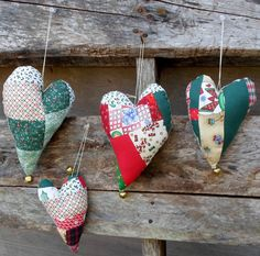 Primitive Patchwork Heart Ornaments Christmas by NoJumbledDucks