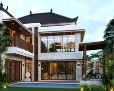 Desain Rumah Villa Bali 2 Lantai Bapak Heri Supriatianto di Bandung Bali House, House 2, Tropical Design, Tropical Style, Floor Design, House Design, Maids Room, Architectural Services, Denpasar