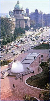 The Square of Nikola Pašić (Trg Nikole Pašića) in the city centre of Belgrade, Serbia