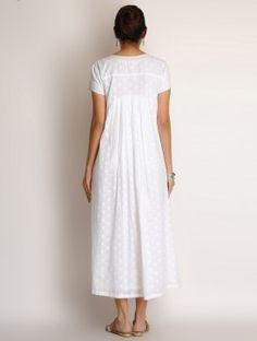 Azza White Jacquard Button Detailed Pleated Cotton Dress