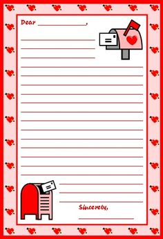 96 Best Valentines Stationery Images Printable Valentine Writing