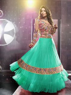 Net Long Salwar - Turquoise And Ivory Unique Long Net And Embroidery Work Gorgeous Salwar Collection