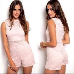 """Pink Soft Stretch Lace Romper Pink blush color, stretchable inside lining, soft, stretchable lace outer fabric. Fully lined except at yoke and 1.5"""" waistband. Hidden back zipper. Keyhole button at nape. 96% nylon, 4% spandex. Hand wash in cold water. No bleach. Line dry. Fit not guaranteed. NWOT. Manufactured for boutique sale. No trades/holding/offsite payment. PRICE IS FIRM  Small: Armpit to armpit, 13.25"""". Waist, 11.75"""". Hips, 16.5"""". Length, 28.5"""" Medium: 15"""", 13.5"""", 17"""", 29.75"""" Large…"""