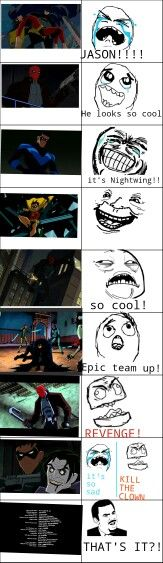 Stages of watching Under the red hood| rage comic