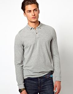 ASOS Polo Shirt With Long Sleeves - Gray Marl