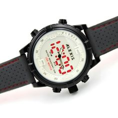 AW801F Water Resist Silicone Black Band Boy Girl Dual Time Alexis Anadigit Watch