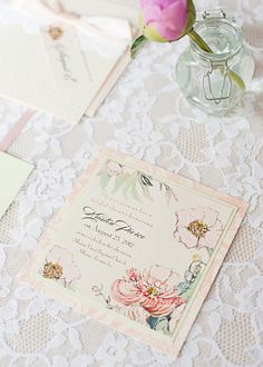 hand-painted blooms on this lovely invitation! | Momental Designs + Cyn Kain