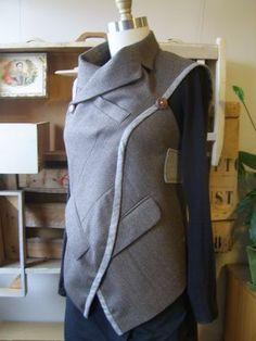 Brown blue jacket tnic quarter front