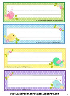 FREE Bird Name Plate printables