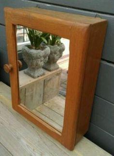 Brocante Eikenhouten Medicijnkastje met Spiegel