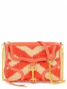 M.A.C./ coral and tan ikat print