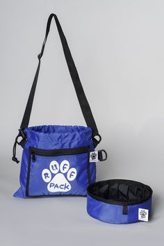 Blue Ruff Pack Bag with Foldable Water Bowl