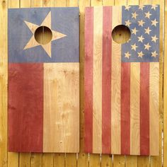 American & Texas Flag Cornhole Game available at https://www.etsy.com/shop/ColoradoJoes