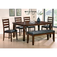 Rent-to-own this stylish dining room group with wood finish and leather seats! $949