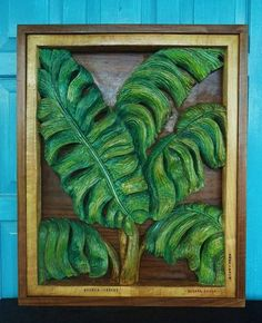 BANANA LEAVES Sculpture in Basswood with Walnut Frame, Tropical Wall Decor, Wood Carving by Susana Caban