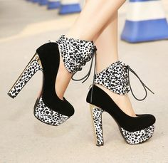 In Vintage Style Detachable Leopard Lace Up Chunky Heel Platform Pumps