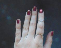 Silver chevron midi upper finger ring handmade sterling silver v-ring