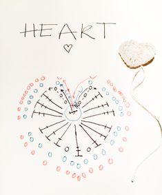 Patroon gehaakt hart. Een handleiding voor het haken van je eigen hart! Een hart dat gebruikt kan worden als knie- of elleboogstukken, deurhanger, als tafelconfetti!