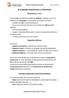 História e Geografia de Portugal Ano letivo 2015/2016 Departamento de Ciências Sociais e Humanas A ocupação muçulmana e o ...