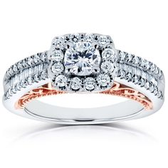 Annello by Kobelli 14k Two Tone Rose Gold Profile 4/5ct TDW Diamond Halo Engagement Ring (Size 11), Women's, Two-Tone