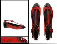 Ballerine scarpe donna basse con cinturino tg 41 rosso e nero NUOVE con scatola SOLO 10 EURO!!
