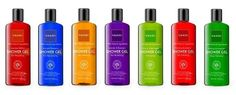 """100% Pure Showergels, Detox, Coconutoil instead of soap ingredients, """"take care of your body"""""""