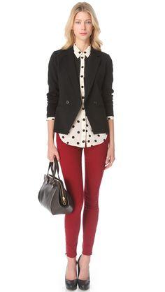 MADEWELL     oxblood burgundy skinny pants + polka dot blouse + black blazer
