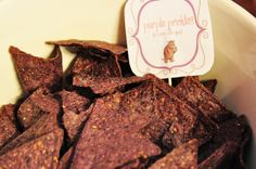 PURPLE PRICKLES :: blue corn chips Blue Corn Chips, Gruffalo Party, Birthday Parties, Beef, Purple, Food, Anniversary Parties, Meals, Yemek